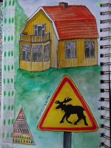 The wooden house in Sweden and the ever present elk warning signs