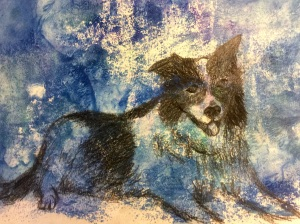 A quick sketch using a soft pencil in a faux gelli printed background with acrylic paints